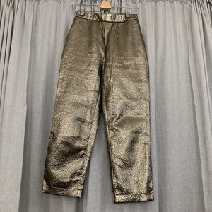 High waisted bronze trousers
